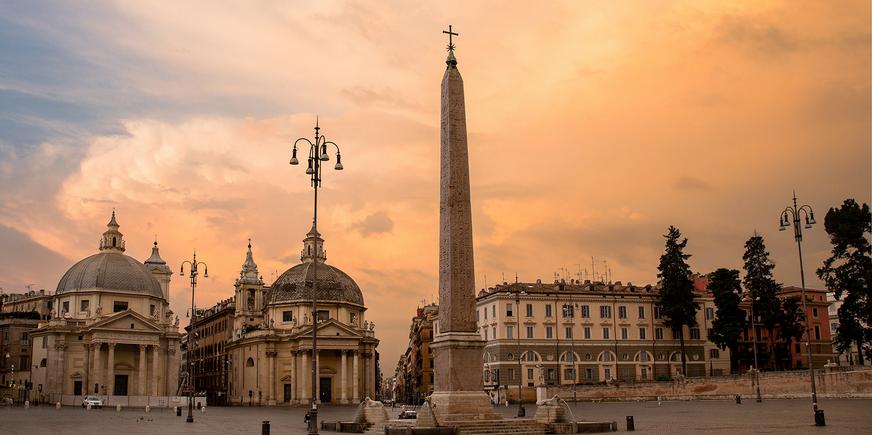 obelisco e chiese gemelle na piazza del popolo
