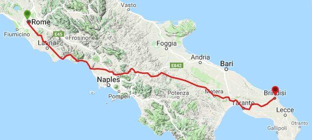 Mapa da Via Appia
