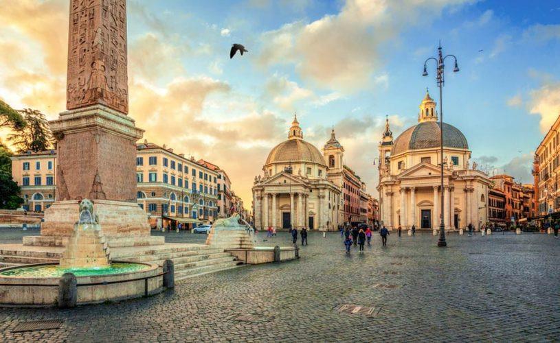 Piazza del Popolo com fonte e igrejas gêmeas