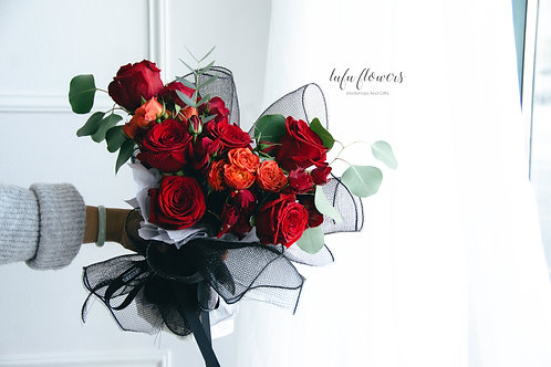LF Red series heart shaped bouquet