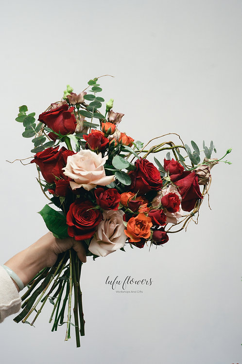 LF Red roses with heart shaped branches bouquet