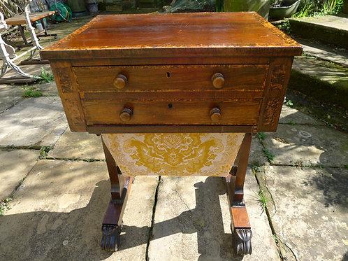 Rosewood Veneered and Partridge Wood Sewing Table
