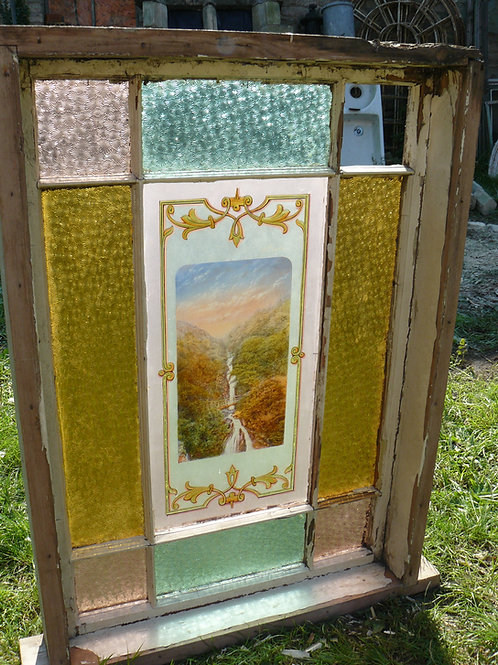 Stained Glass Window with Large Central Picture