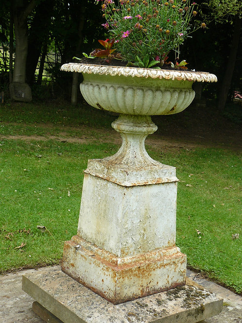 Georgian Cast Iron Urn with Cast Pedestal on Stone Base