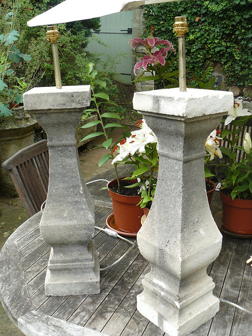 Pair of Stone Lamp Stands