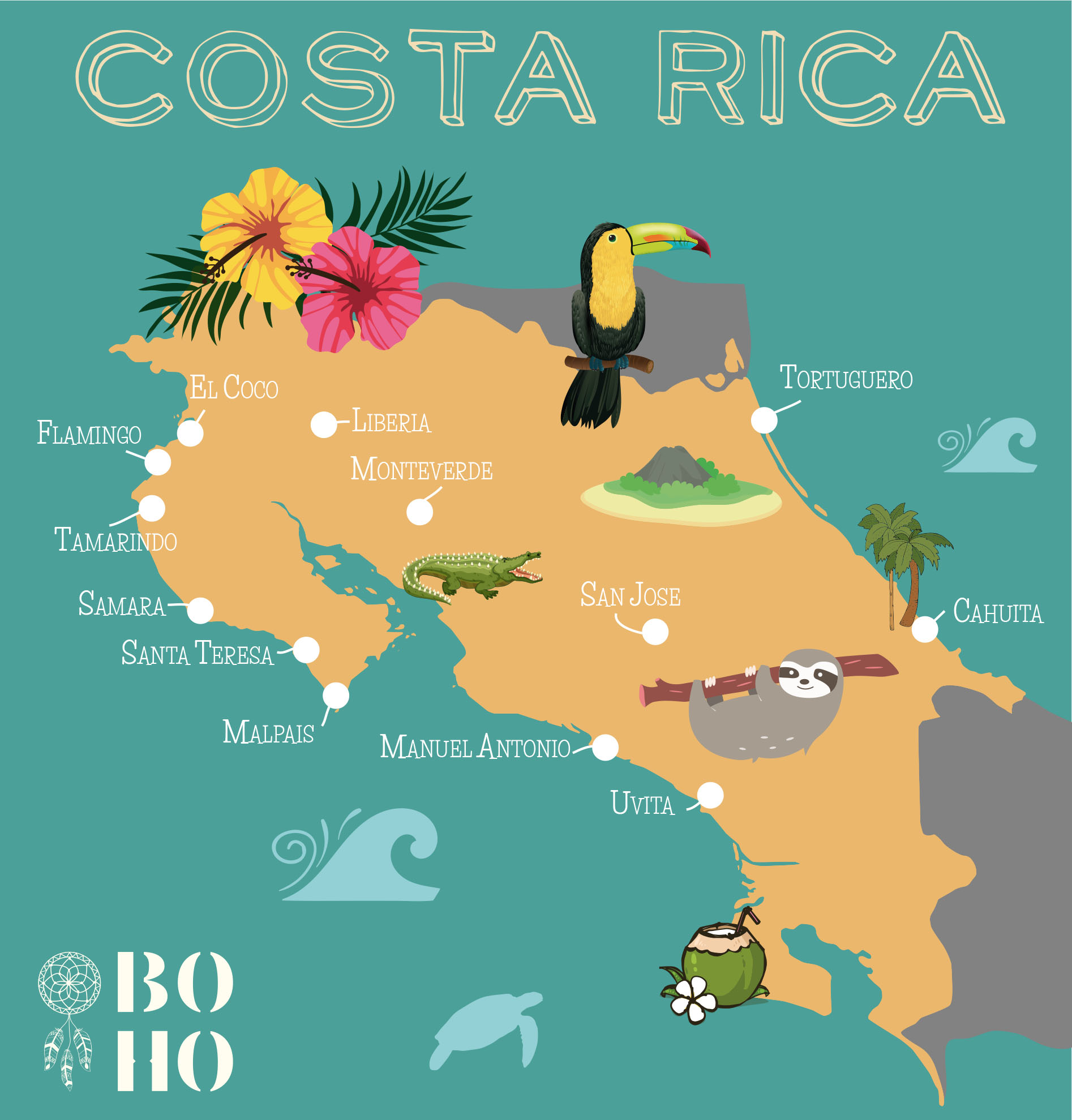 Costa Rica Map BoHo Tamarindo