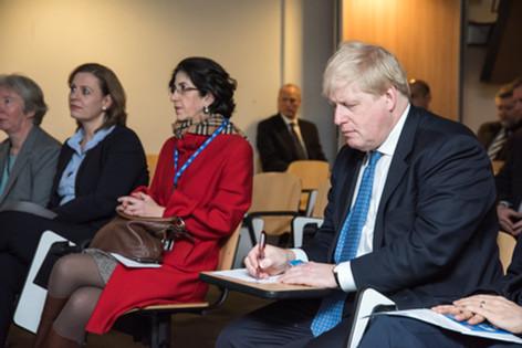 Director General of CERN Fabiola Gianotti and Boris Johnson