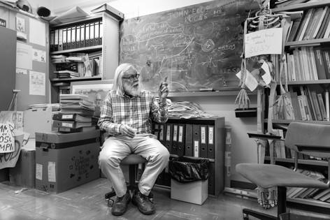 Theorist John Ellis in his office