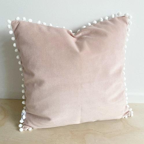 Pink Velvet with Pom Pom Trim