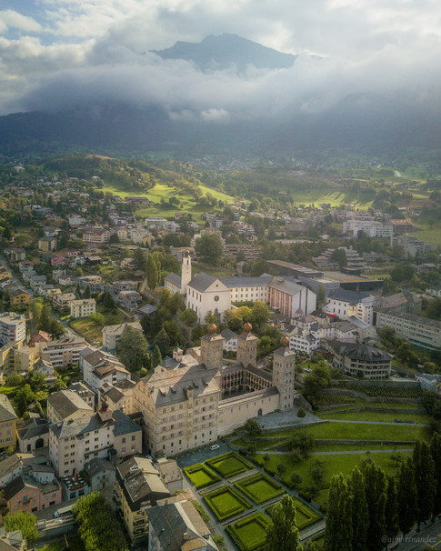 Aerial views of the town of Brig in the Valais Region