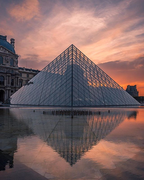 Sunset Reflections at the Louvre