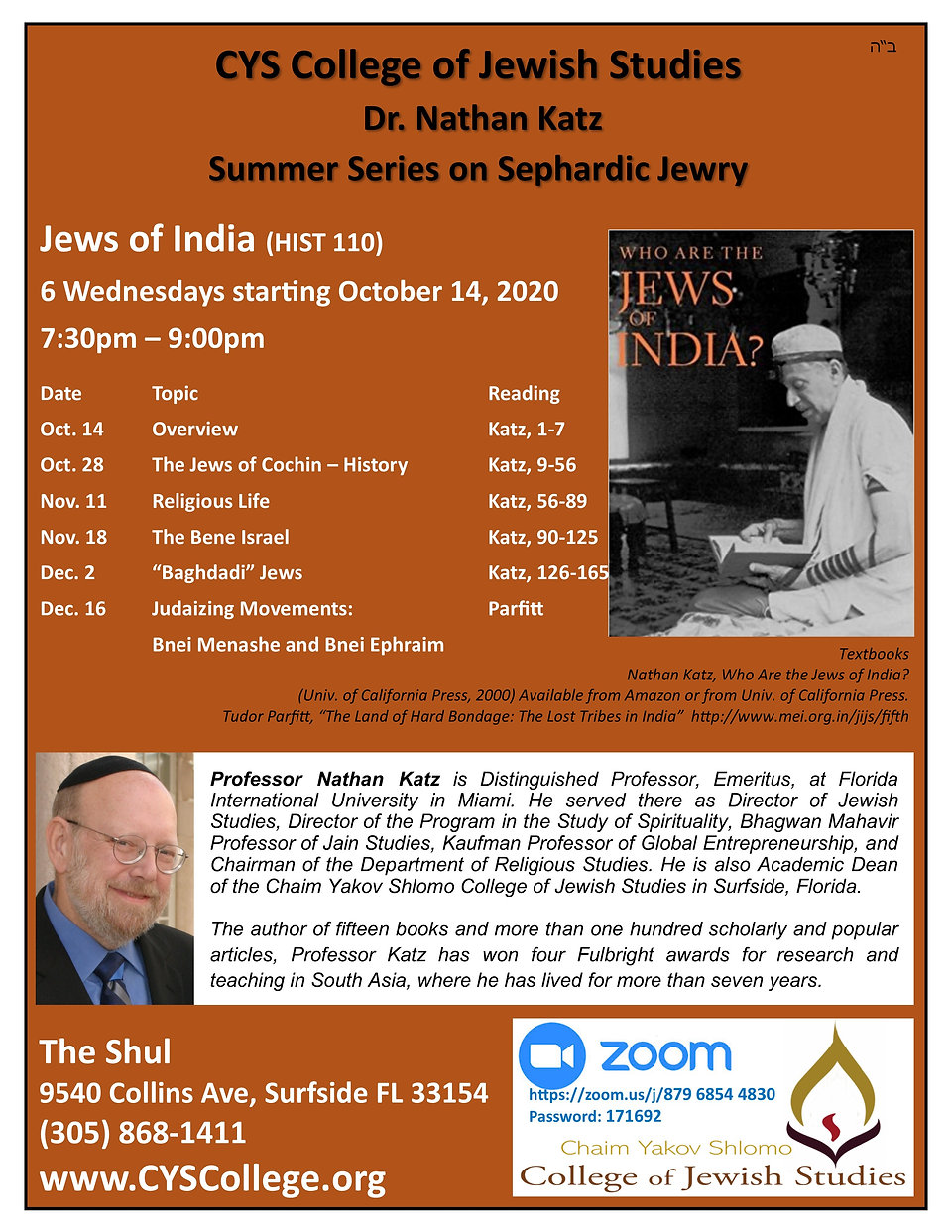 CYS Flyer - HIST 110 - 2020 - Jews of In