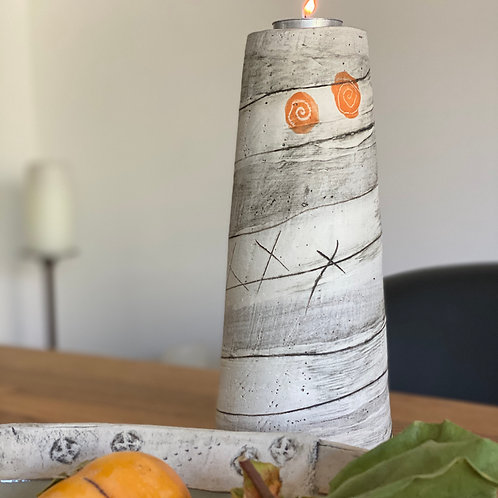 Orange Spirals Candle Cone