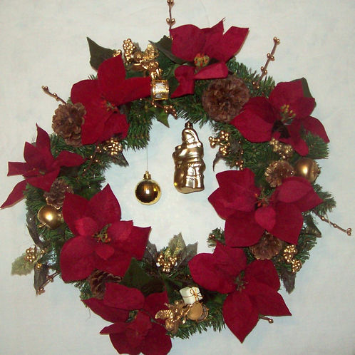Red Poinsettia with Ornaments