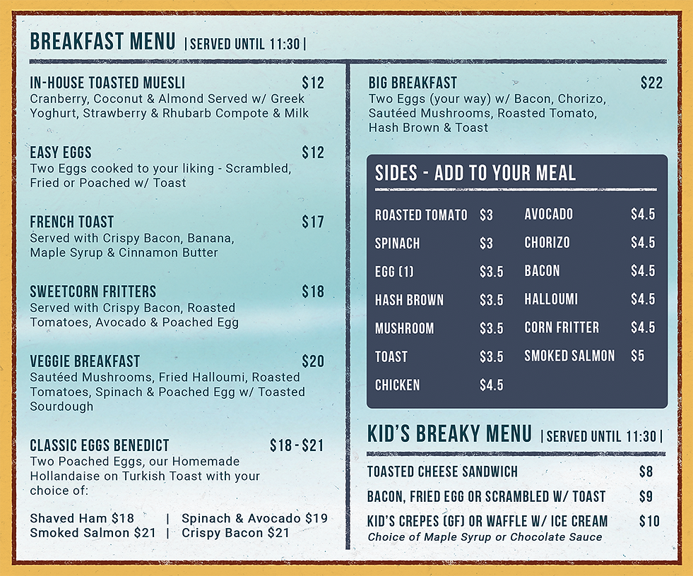 Breakfast Menu - Lexies Website Nov 2019