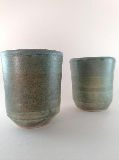 Set of 2 Matte Green Cups
