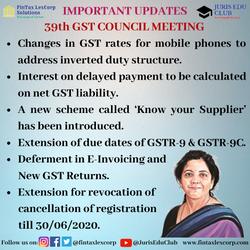 IMPORTANT UPDATES-39th GST COUNCIL MEETI