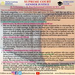 GENDER JUSTICE-D. Velusamy v. D