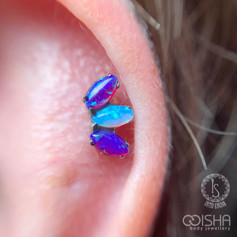 industrial strength marquise fan in sleepy lavender and bubble gum opals helix piercing by