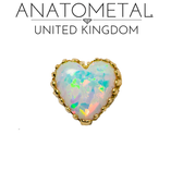 Anatometal yellow gold opal heart white