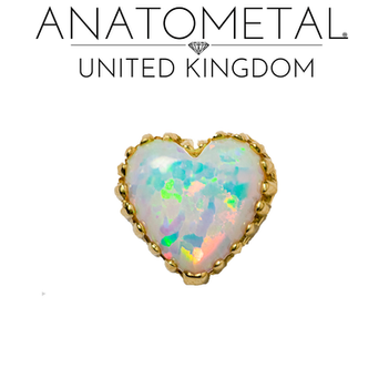 Anatometal yellow gold opal heart white