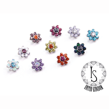 Titanium Threaded Flowers with Faceted G