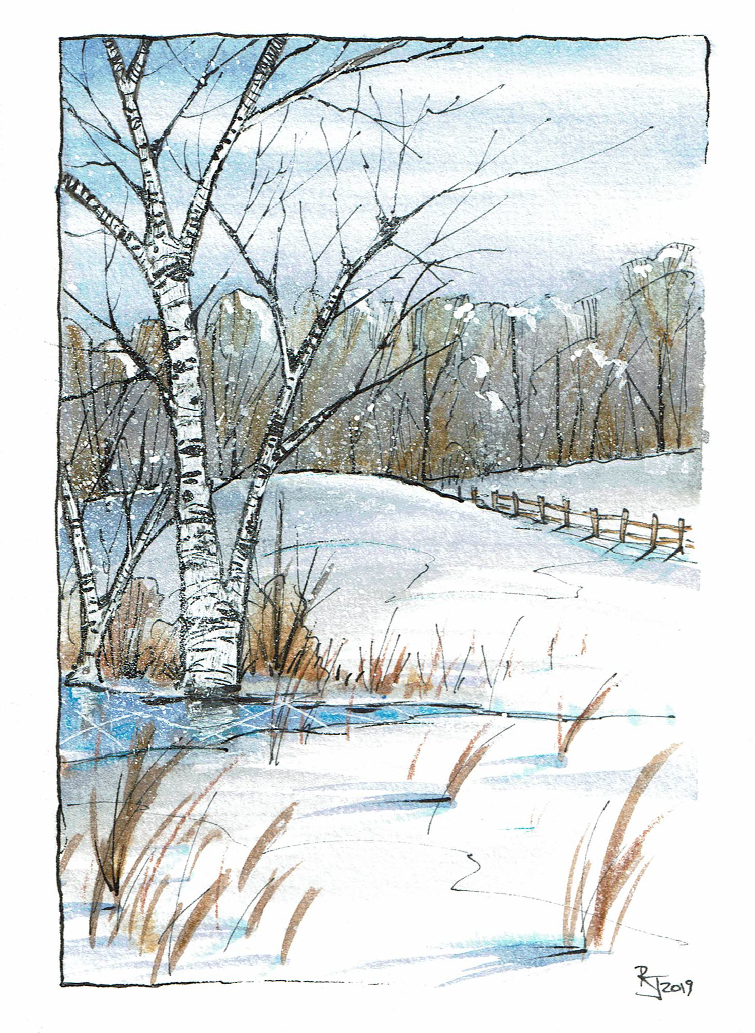 Winter birch scene