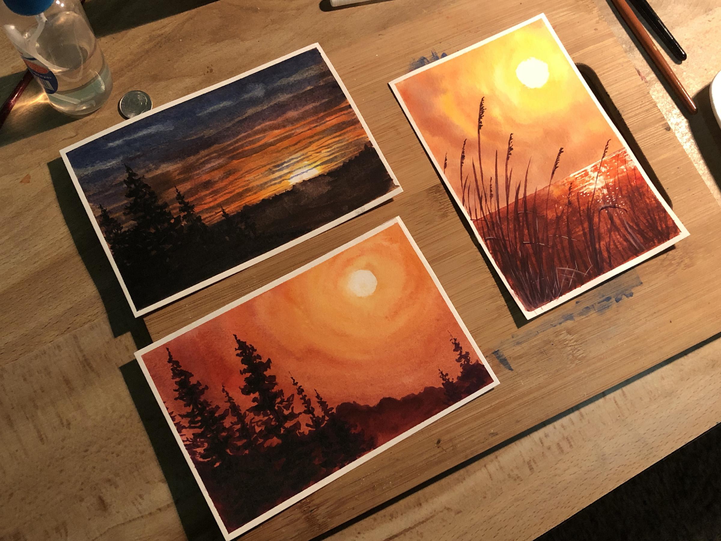 Simple Watercolor Postcards