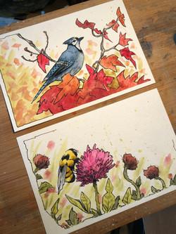 Ink & Watercolor Wash Postcards