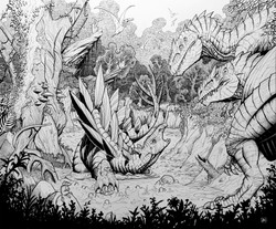 Allosaurus vs Stegosaurus Ink Sketch