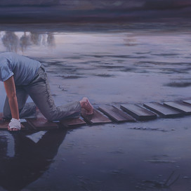 The Elusive Truth, 2005 Oil on linen 91 x 213.5 cm