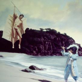 Peter Kills Harlokin, 1996 Oil on canvas  153 x 102 cm