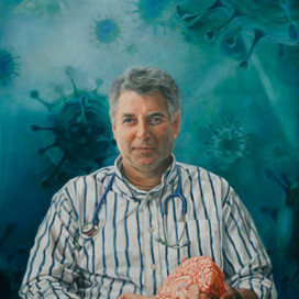 Portrait of Professor Steve Wesselingh, 2011 oil on linen 100 x 74cm Monash University