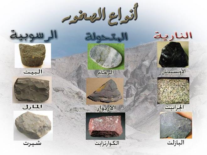 انواع المعادن في الصخور