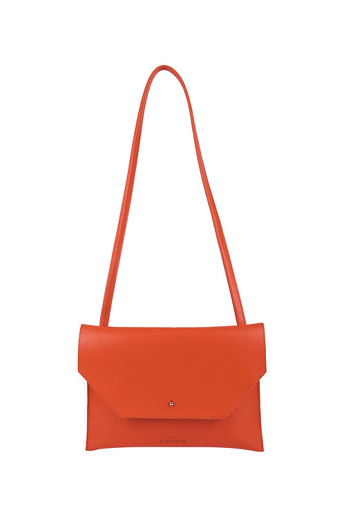 Colette - coloris orange vif - anse en cuir