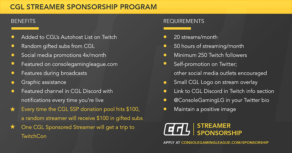 STREAMER SPONSORSHIP | Console Gaming League | CGL