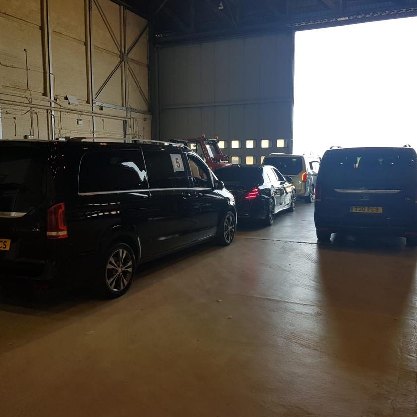 Mercedes vehicles at private hanger, Birmingham Airport