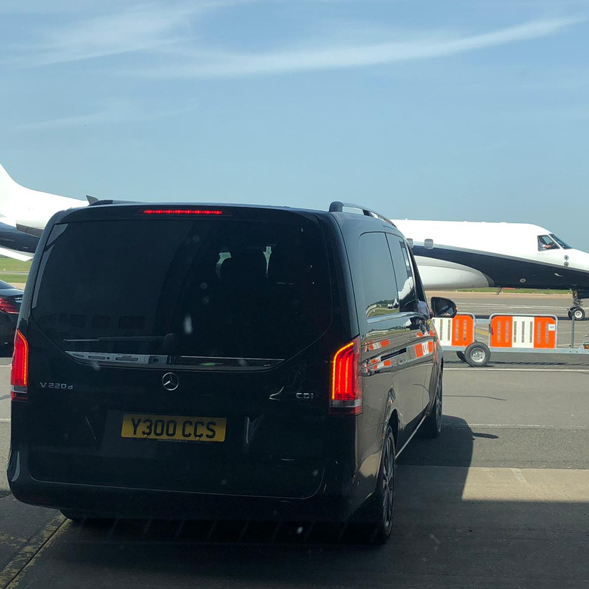 Mercedes-Benz V-Class on runway at Birmingham Airport