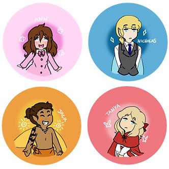 Like Falling Stars Character Button Set
