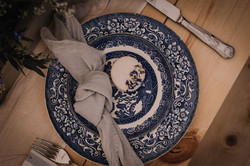 Blue vintage china place setting