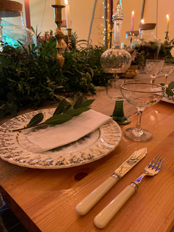 Vintage china, cutlery & glassware