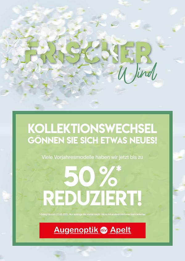 Poster Augenoptik Apelt, Aktion 50% reduziert Kollektionswechsel