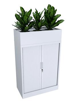 Tansy Tambour Door Steel Cupboard + Planter Box