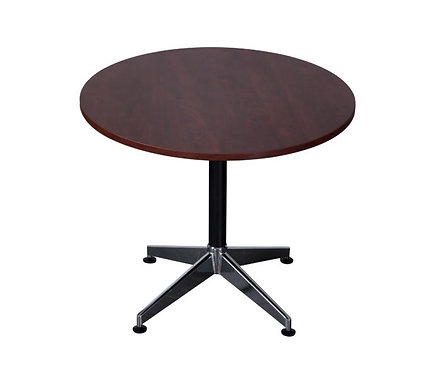 Mullein Round Meeting Table Mahogany Colour