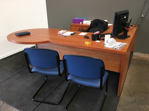 P End Office Desk With Return And Pedestal Used