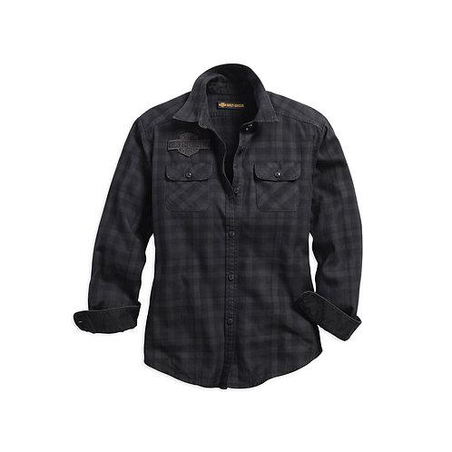Chemise ML carreaux bleue/noire