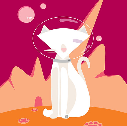 WHITE CAT IN MARS
