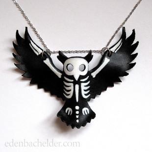 Owl skeleton necklace