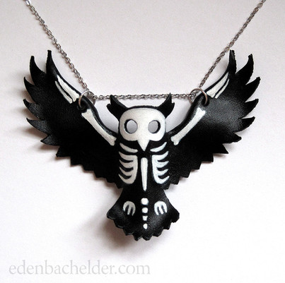 Owl skeleton necklace