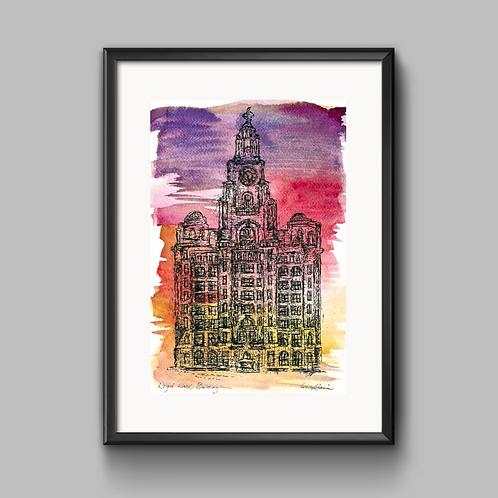 Liver Building (Sunset) Print